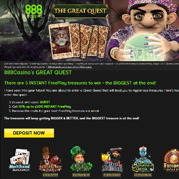 888's Great Quest Promo Offers Masses of Free Play