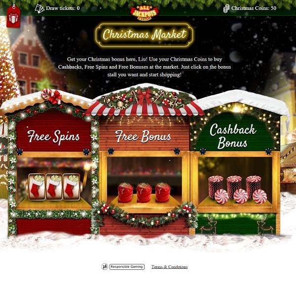 Enjoy Bonuses at All Jackpots Casino Christmas Market