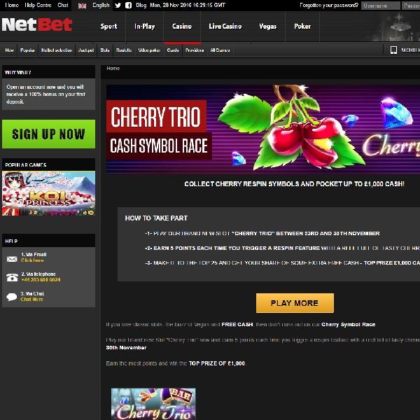Win £1,000 Cash in NetBet Cherry Trio Promo