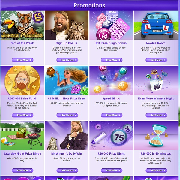 End of Month Bonuses and Promotions at Winner Bingo