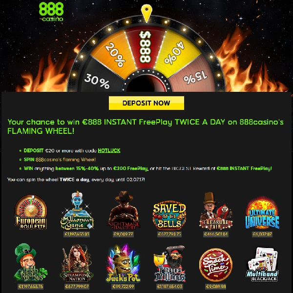 Win €888 Free Play Twice a Day at 888 Casino