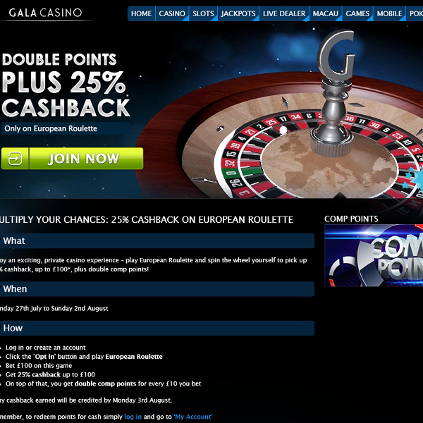 Double Comp Points and Cashback on European Roulette at Gala Casino