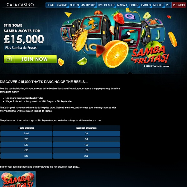 Win a Share of £15,000 Playing Samba de Frutas at Gala Casino