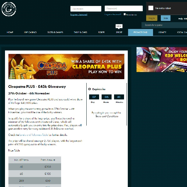 Win a Share of £45K In Grosvenor Casino Cleopatra Plus Giveaway