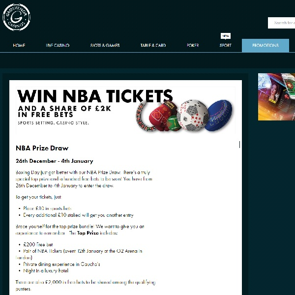 Win Tickets to the NBA at Grosvenor Casino