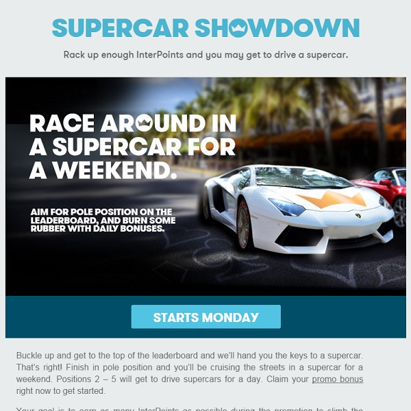 Win a Weekend Supercar at InterCasino This Month