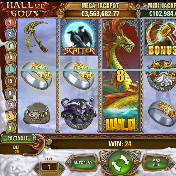 Hall of Gods Video Slots at Betsafe Casino Reaches €1.9M