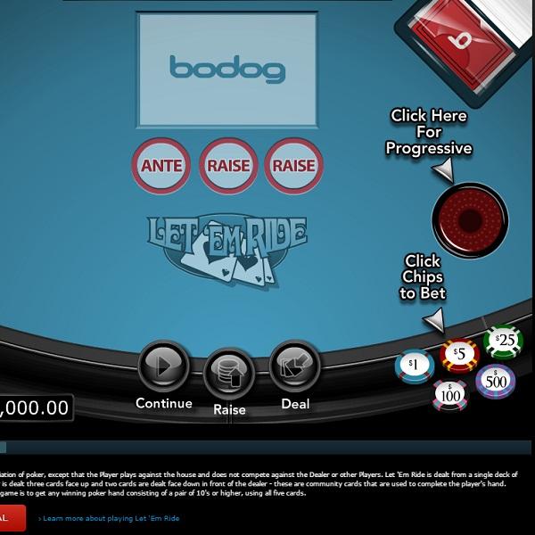 Bodog Casino Let'em Ride Progressive Poker Jackpot Exceeds $75K