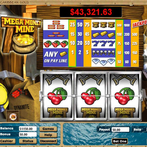 Mega Money Mine Video Slots at Intertops Casino Classic Offers $97K