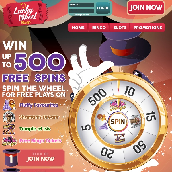 Lucky Wheel Bingo Offers Up to 500 Free Games