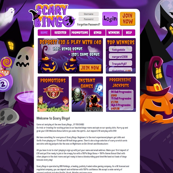 Scary Bingo has just launched and is offering players scary thrills year round with fantastic games and generous promotions.