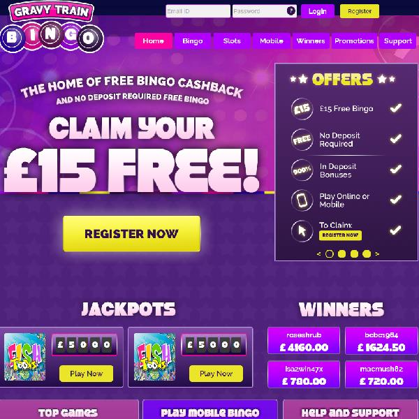 Gravy Train Bingo Launches With Cashback for All