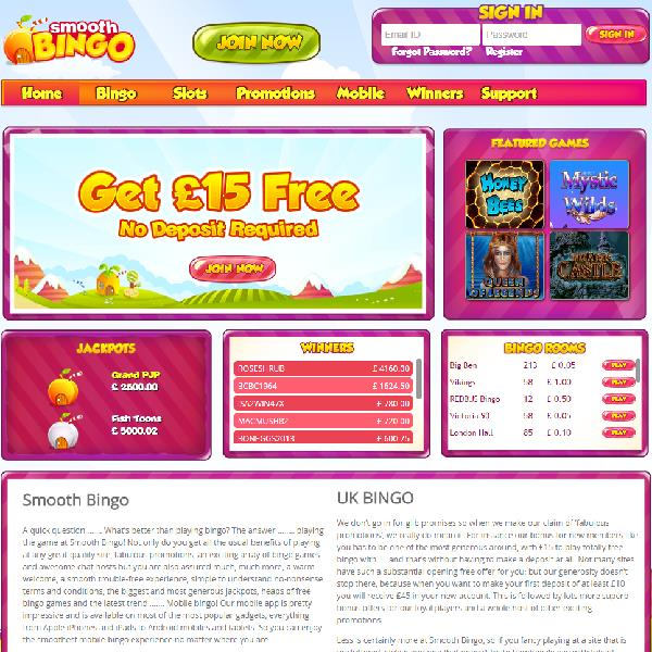 Smooth Bingo Offers Roomies Multiple Bingo Rooms