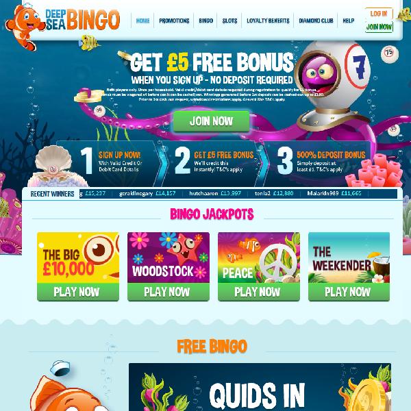 Deep Sea Bingo Offers Underwater Bingo Fun