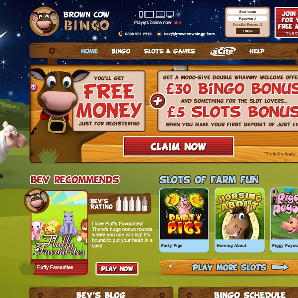 Brown Cow Bingo Offers Farm Themed Bingo