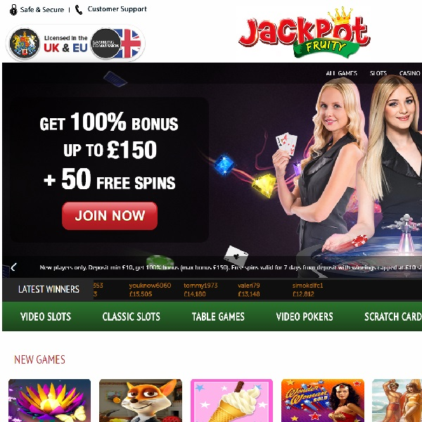 Jackpot Fruity Casino Offers a Huge Welcome Package