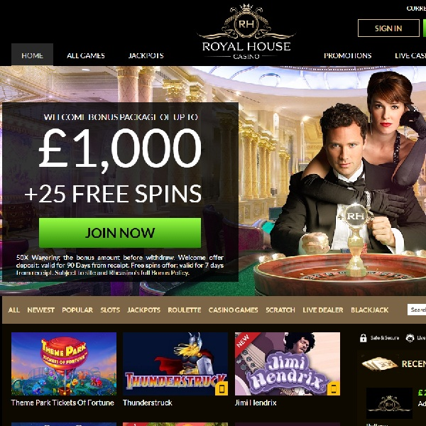 Royal House Casino is a brand new online casino which treats all its members as if they were VIPs at a top casino.