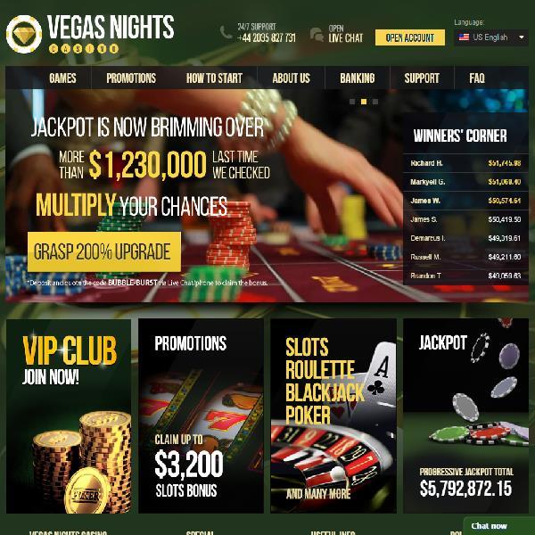 Vegas Nights Casino Goes Live
