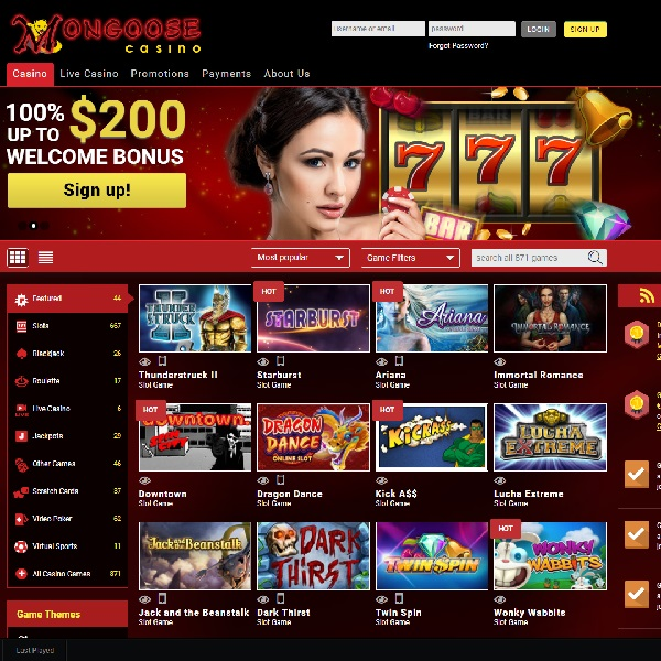 Mongoose Casino Goes Live With Almost 900 Games
