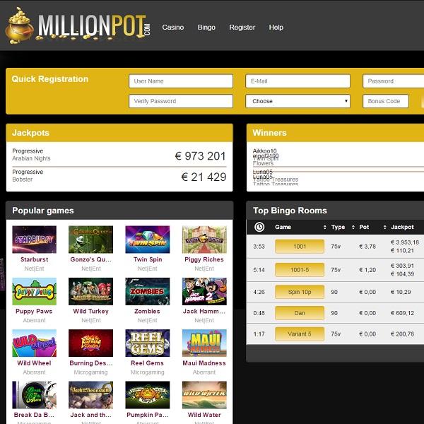 MillionPot Casino Offers Players Huge Progressive Jackpots