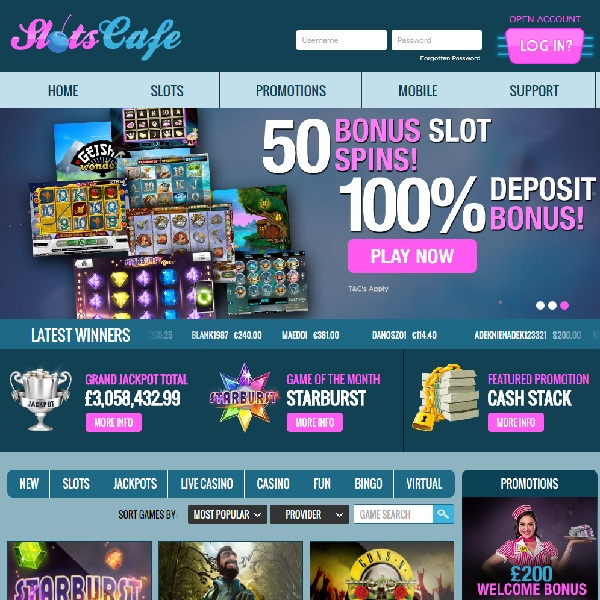 Slots Cafe Casino Serve the Best in Online Slots