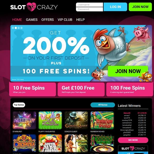 Slot Crazy Casino Offers Hundreds of Slot Games