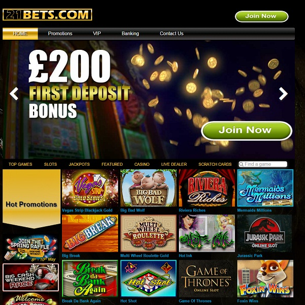 21Bets Casino Offers Huge Amounts of Slots