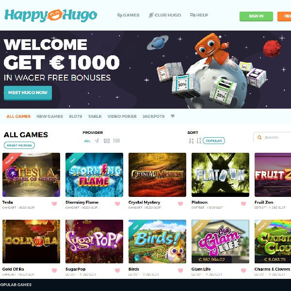 Happy Hugo Casino Offers New Players Huge Bonuses