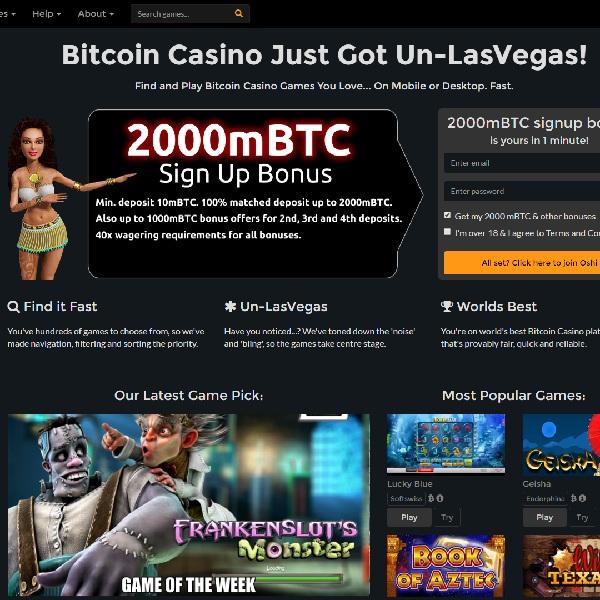 Oshi Bitcoin Casino Welcomes Bitcoin Gamblers
