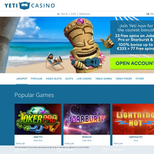 Yeti Casino Springs into Existence with Top Games
