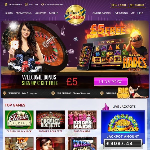Lucks Casino Features Multiple Mobile and Progressive Slots
