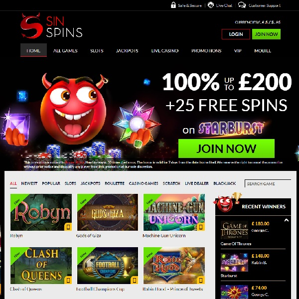 Sin Spins Casino is a new online gambling destination packed with top games and offering unadulterated gambling fun.