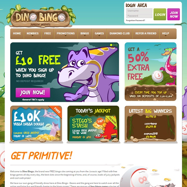 Dino Bingo Offers Jurassic Themed Online Bingo