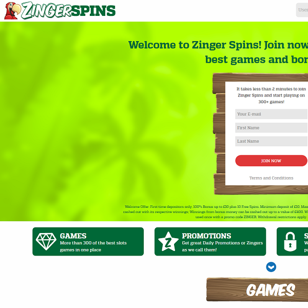 Zinger Spins Casino Offers More Than 300 Top Titles