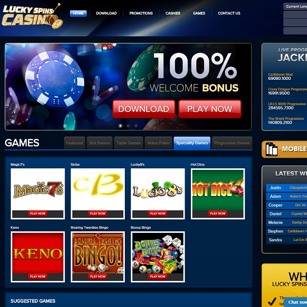 Lucky Spins Casino Offers Massive Deposit Bonuses