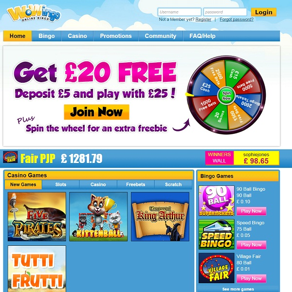 Wowingo Bingo Provides Colourful Online Bingo