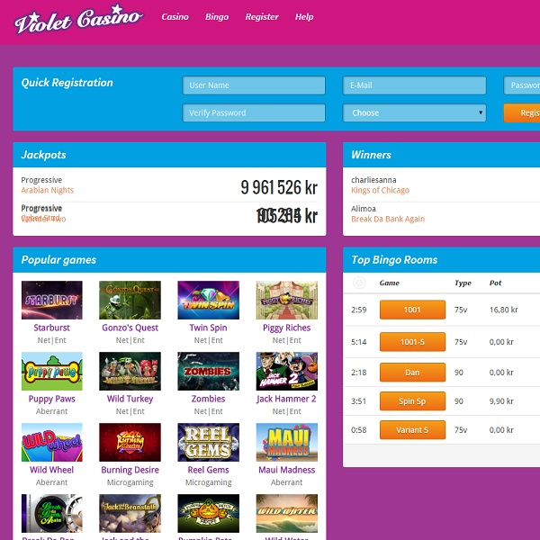 Violet Casino Offers Casino Games, Bingo and More