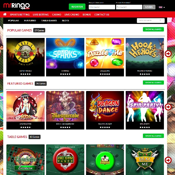 Mr Ringo Casino Offers Over 200 Quality Slots