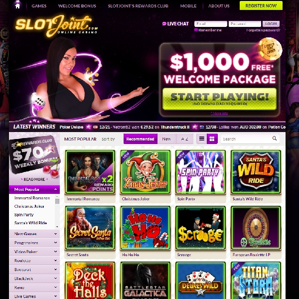 SlotJoint Casino Offers Huge Welcome Package