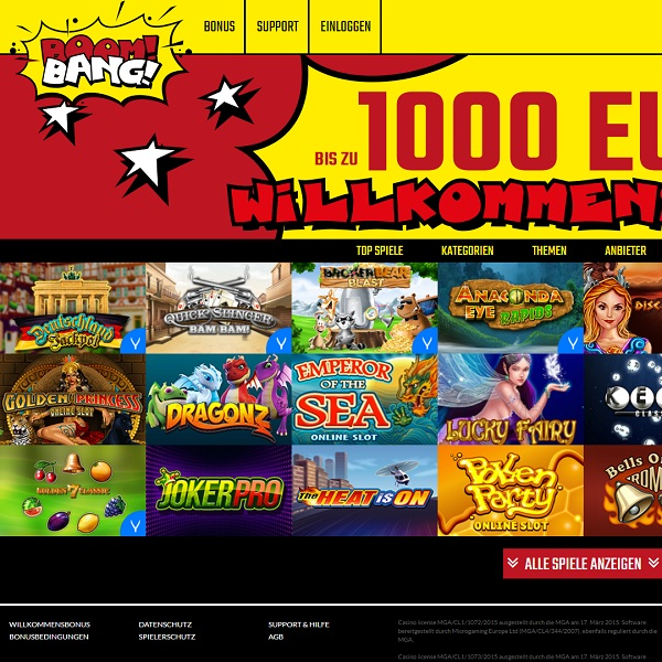 Boom Bang Casino Offers Quality Comic Gambling