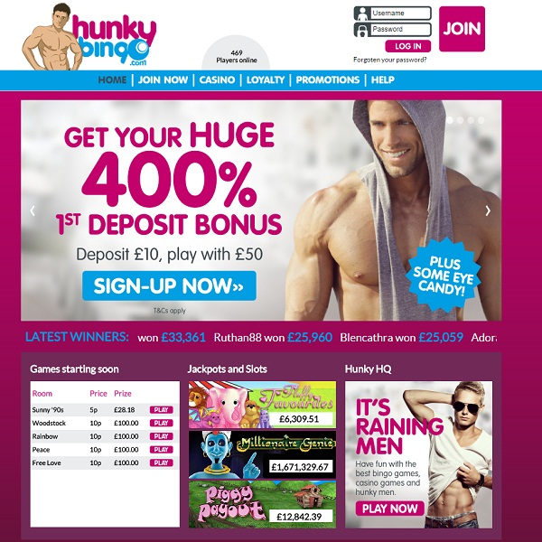 Hunky Bingo Provides Online Bingo Surrounded by Muscle