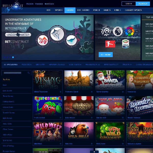 Breakout Gaming Casino Has Games from Loads of Developers