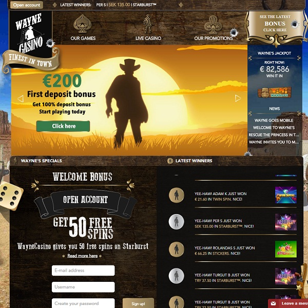 Wayne Casino Brings the Wild West to Online Gambling