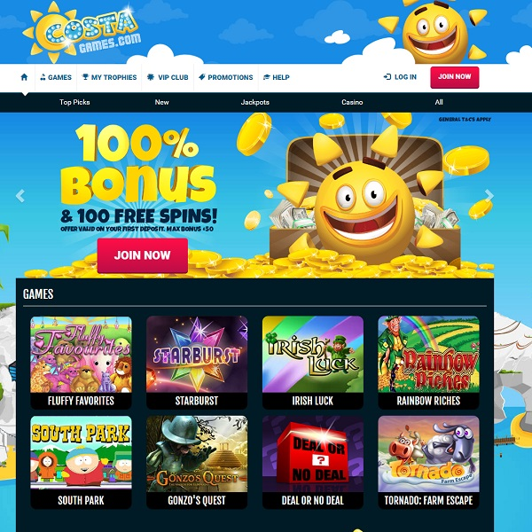 Costa Games Casino Offers Sunny Online Gambling