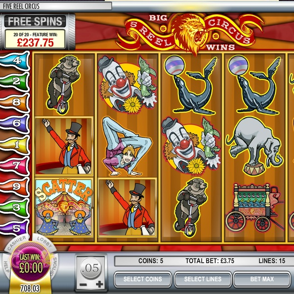 Five Reel Circus Slot Features Wild Tigers