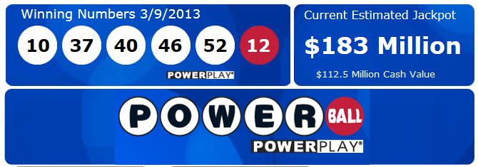 Powerball Jackpot Exceeds $180 Million