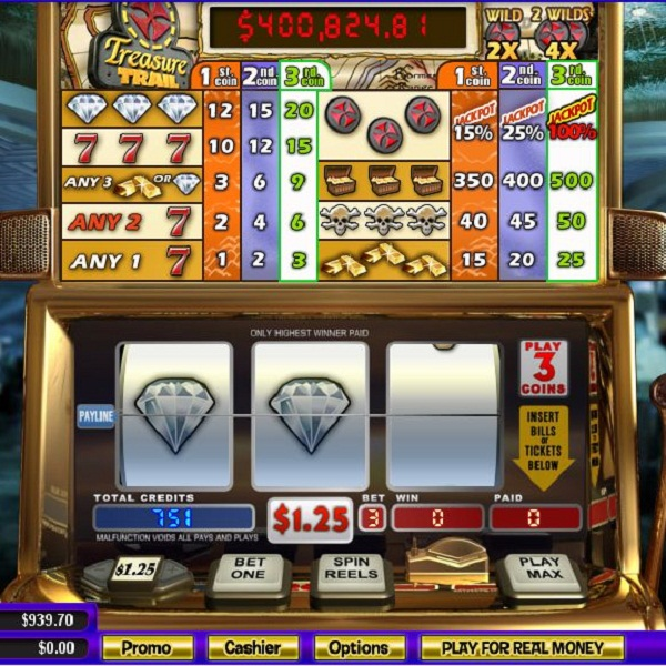 Treasure Trail Video Slots at Intertops Casino Classic Offers $35K