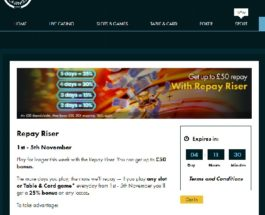 Earn Bonuses of Up to £50 in Grosvenor Casino Repay Riser