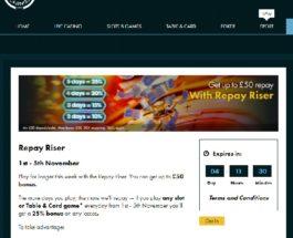 Earn Bonuses of Up to £50 in Grosvenor Casino Repay Riser