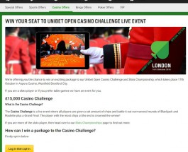 Win a Seat at the Unibet Open Casino Challenge Live Event